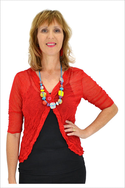 Red One Button Mesh Cardigan - at I Love Tunics @ www.ilovetunics.com = Number One! Tunics Destination
