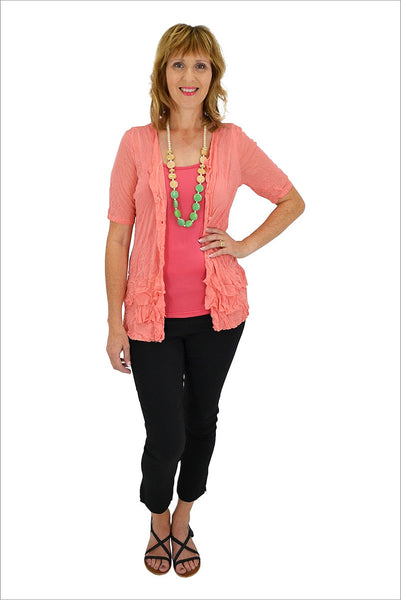 Salmon Button Up Mesh Cardigan