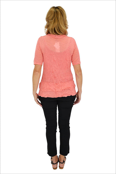 Salmon Button Up Mesh Cardigan | I Love Tunics | Tunic Tops | Tunic | Tunic Dresses  | womens clothing online