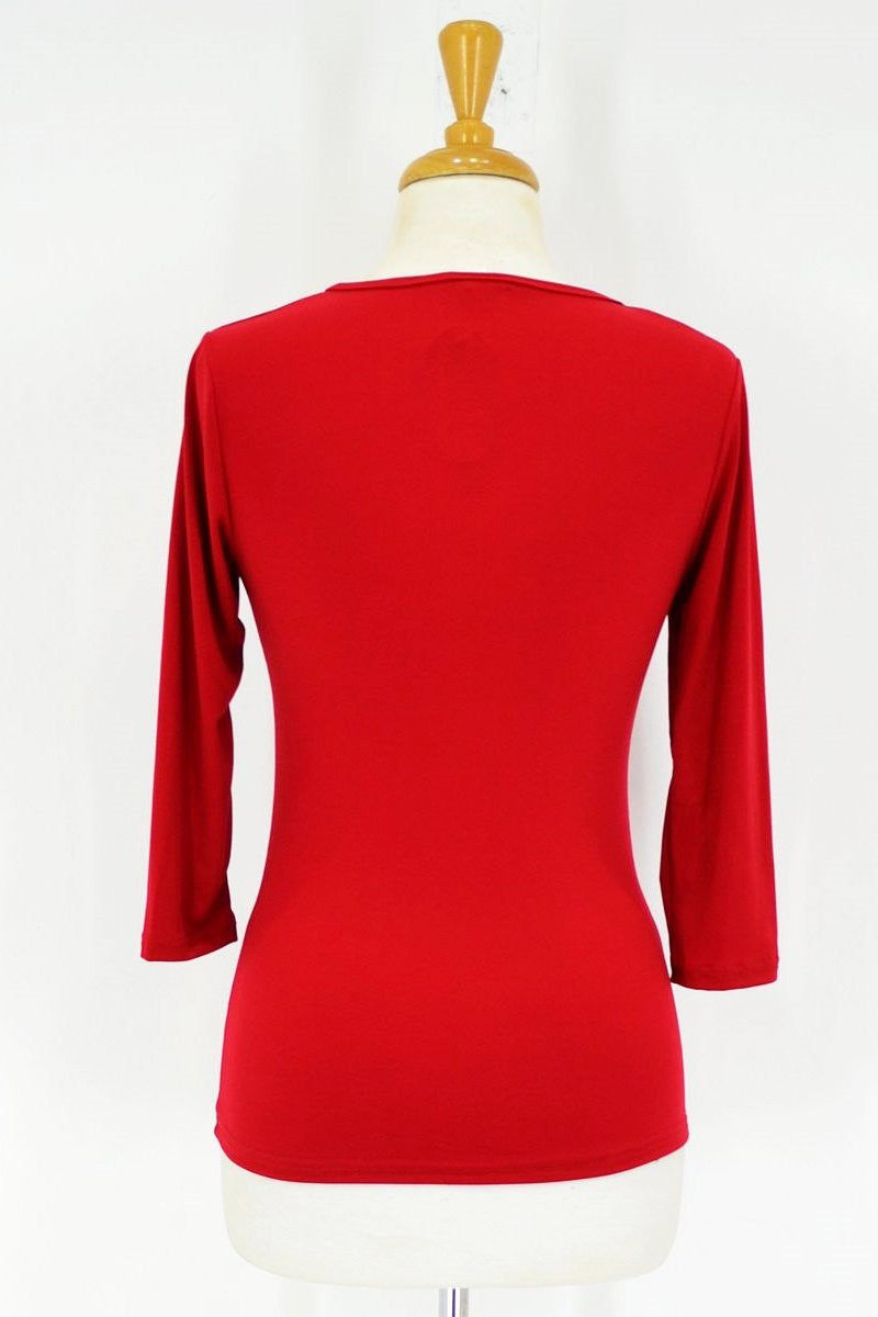 Red 3/4 Sleeve Basic - at I Love Tunics @ www.ilovetunics.com = Number One! Tunics Destination
