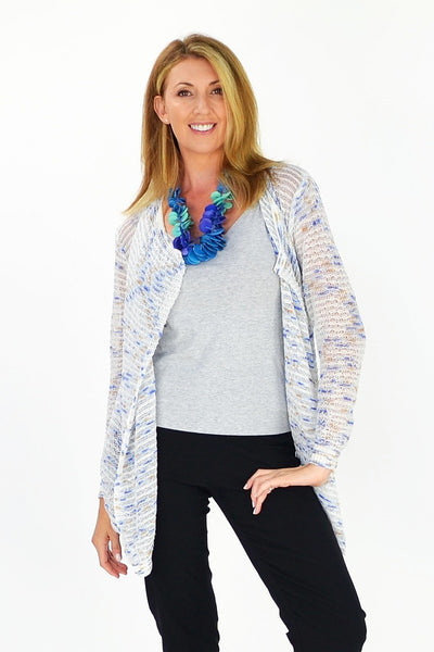 Blue & White Willow Cardigan | I Love Tunics | Tunic Tops | Tunic Dresses | Women's Tops | Plus Size Australia | Mature Fashion