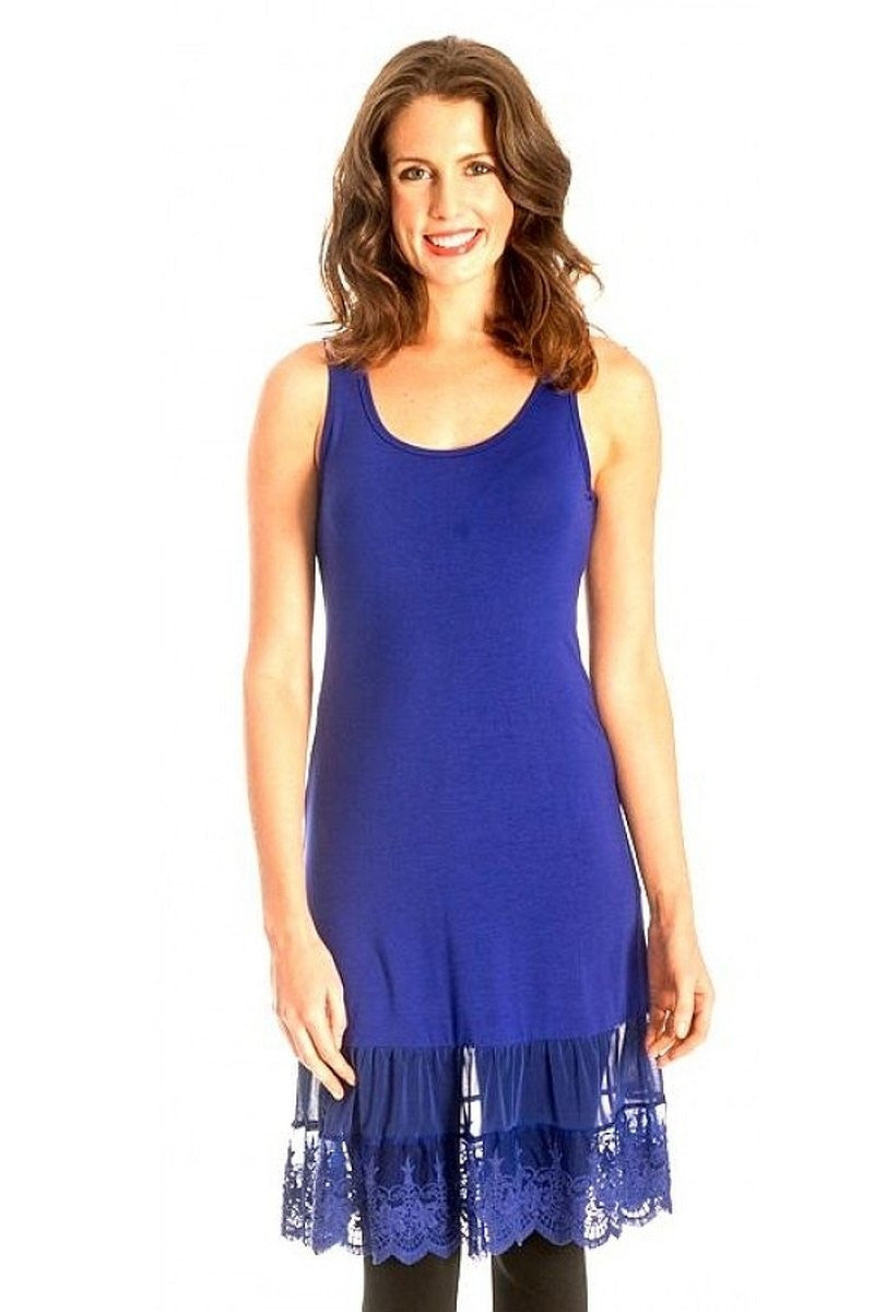 Clarity Cobalt Lace Trim Slip | I Love Tunics | Tunic Tops | Tunic Dresses | Women's Tops | Plus Size Australia | Mature Fashion