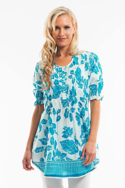 Blue Petals Tunic - at I Love Tunics @ www.ilovetunics.com = Number One! Tunics Destination
