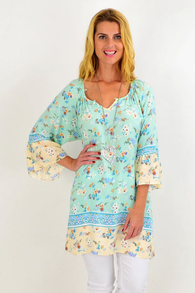 Soft Aqua Light & Pretty Tunic Top