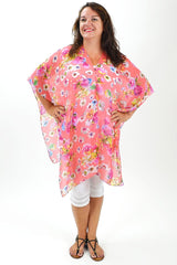 Pink Garden Kaftan Poncho | I Love Tunics | Tunic Tops | Tunic Dresses | Women's Tops | Plus Size Australia | Mature Fashion