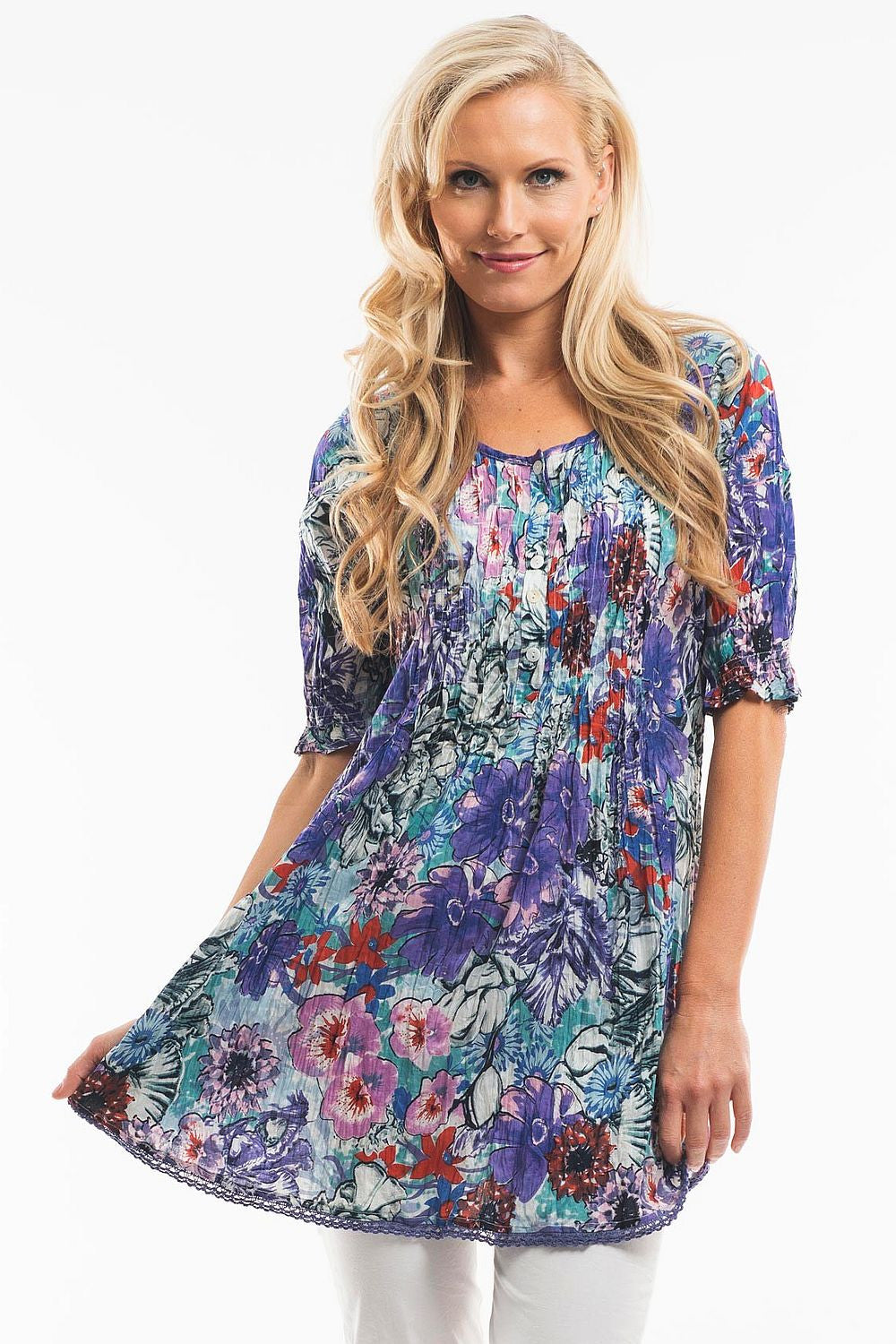 Blue Floral Tunic - at I Love Tunics @ www.ilovetunics.com = Number One! Tunics Destination