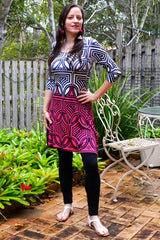 Pink White Line Tunic - at I Love Tunics @ www.ilovetunics.com = Number One! Tunics Destination