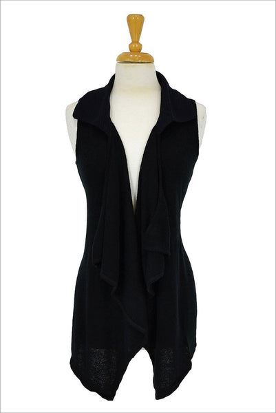 Black Frilled Front Vest