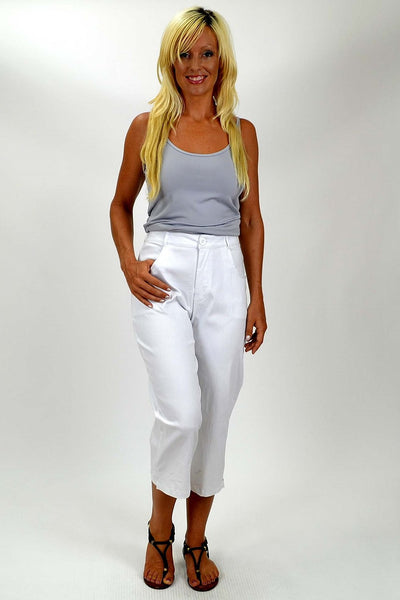 White Wide Leg 3/4 Pants - I Love Tunics @ www.ilovetunics.com