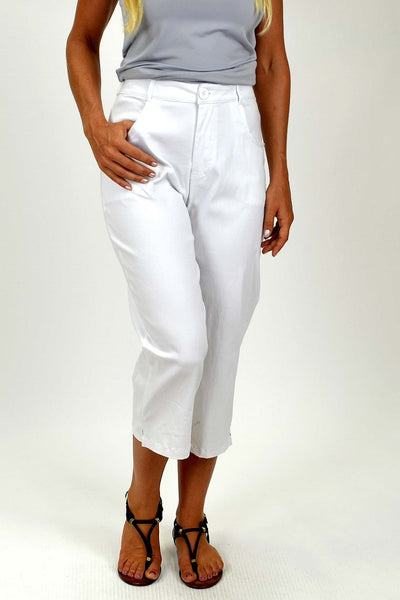 White Wide Leg 3/4 Pants