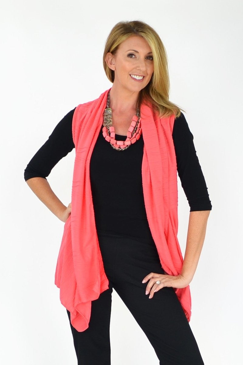 Salmon Nicole Vest - at I Love Tunics @ www.ilovetunics.com = Number One! Tunics Destination