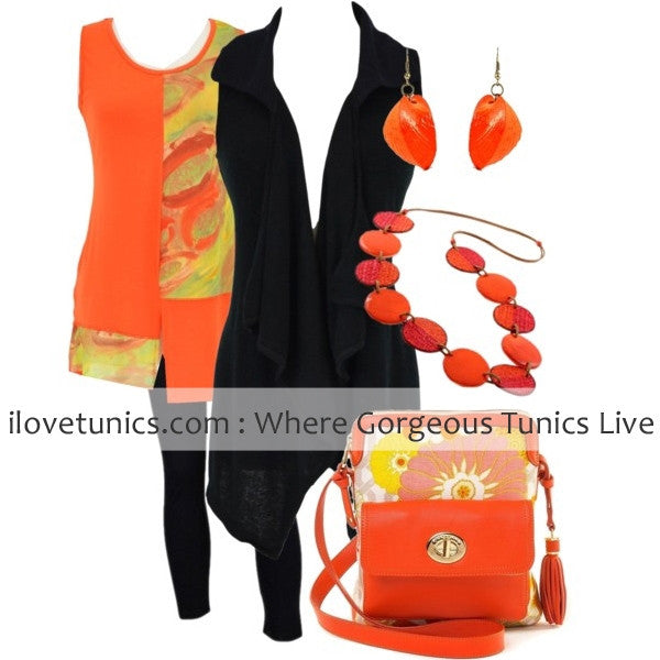 Black Frilled Front Vest - at I Love Tunics @ www.ilovetunics.com = Number One! Tunics Destination