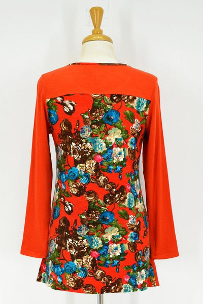 Orange Floral Tunic - at I Love Tunics @ www.ilovetunics.com = Number One! Tunics Destination