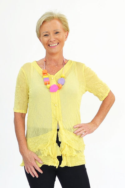Yellow Button Up Mesh Cardigan - I Love Tunics @ www.ilovetunics.com