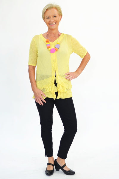 Yellow Button Up Mesh Cardigan