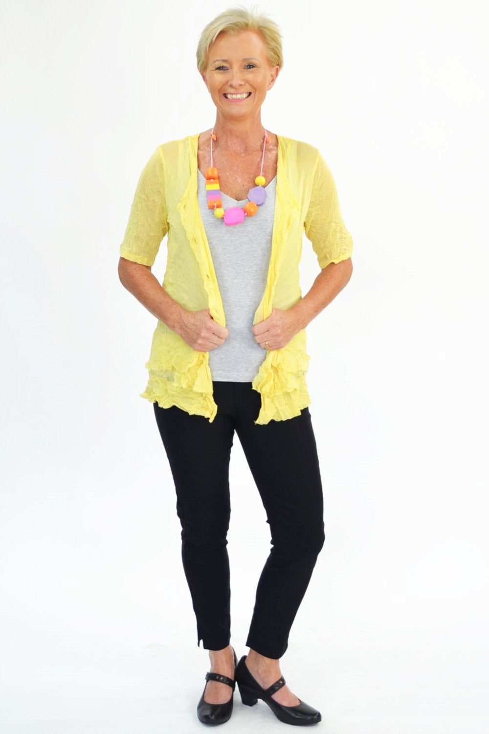Yellow Button Up Mesh Cardigan | I Love Tunics | Tunic Tops | Tunic | Tunic Dresses  | womens clothing online