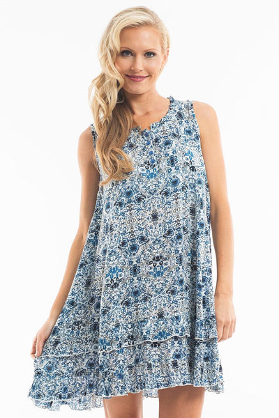 Blue White Sleeveless Tunic - at I Love Tunics @ www.ilovetunics.com = Number One! Tunics Destination