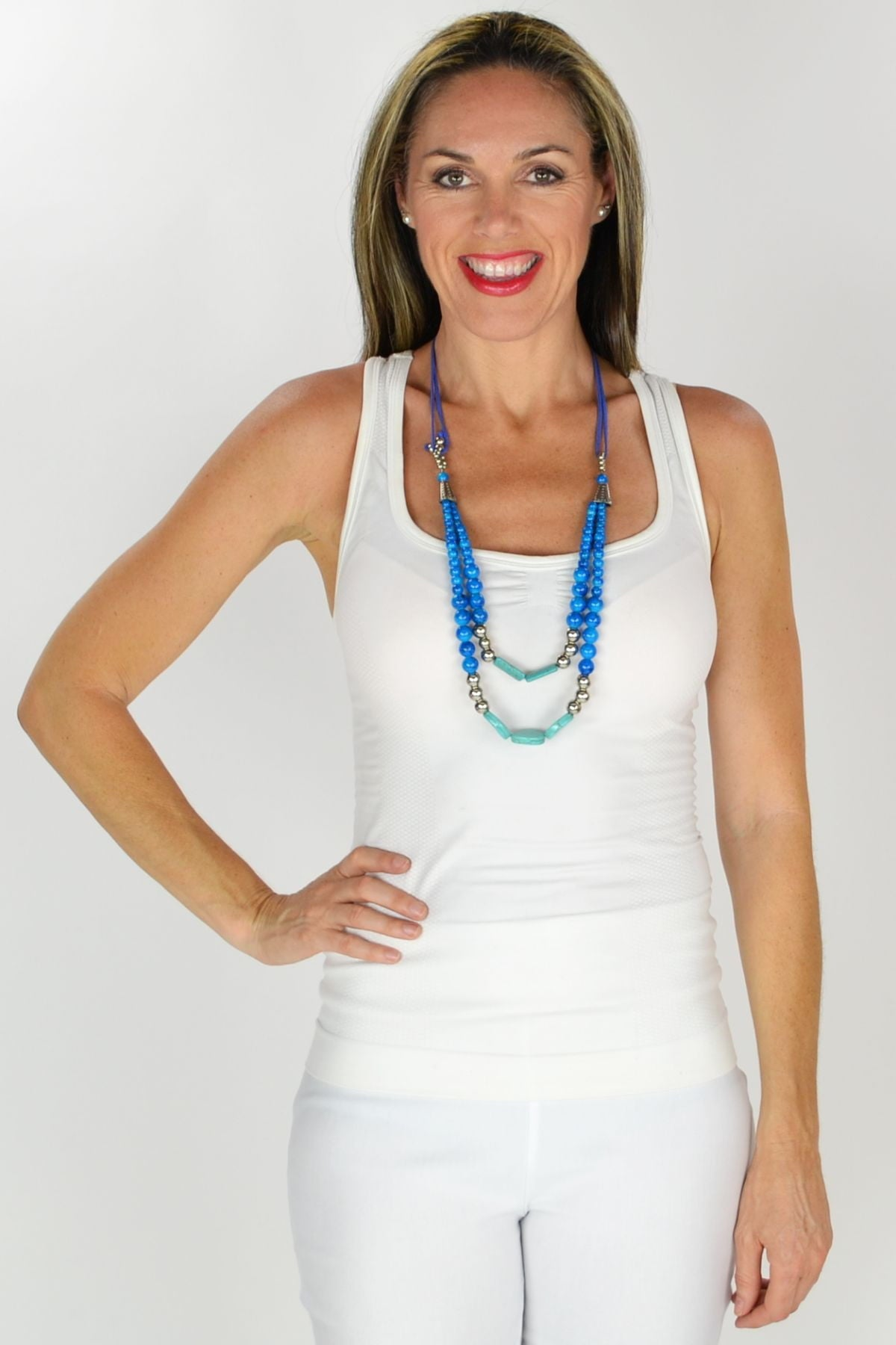 Forozan Blue Beads Necklace | I Love Tunics | Tunic Tops | Tunic | Tunic Dresses  | womens clothing online