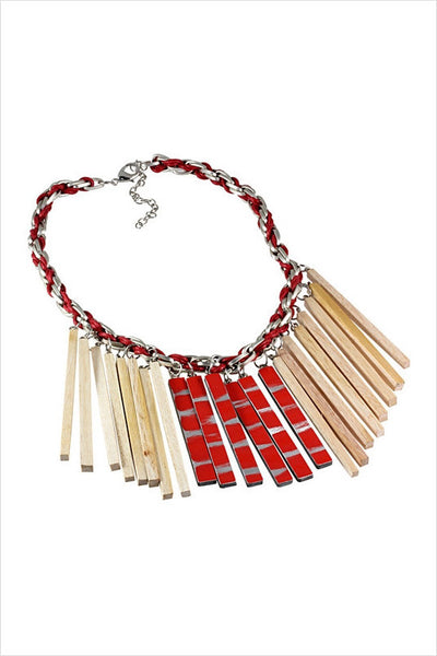 Red Beige Choker Necklace - I Love Tunics @ www.ilovetunics.com