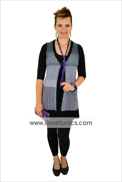 Black Grey Ribbed Vest