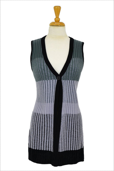 Black Grey Ribbed Vest - at I Love Tunics @ www.ilovetunics.com = Number One! Tunics Destination