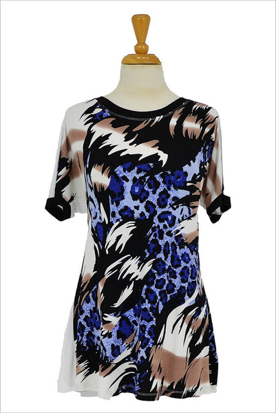 Blue Leopard Tunic | I Love Tunics | Tunic Tops | Tunic Dresses | Women's Tops | Plus Size Australia | Mature Fashion