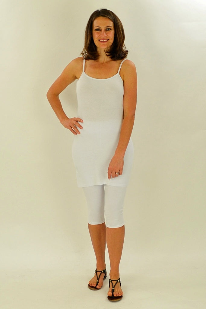 Long White Cotton Basic Singlet Top | I Love Tunics | Tunic Tops | Tunic | Tunic Dresses  | womens clothing online
