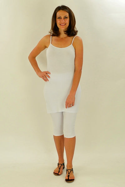 Long White Cotton Basic Singlet Top