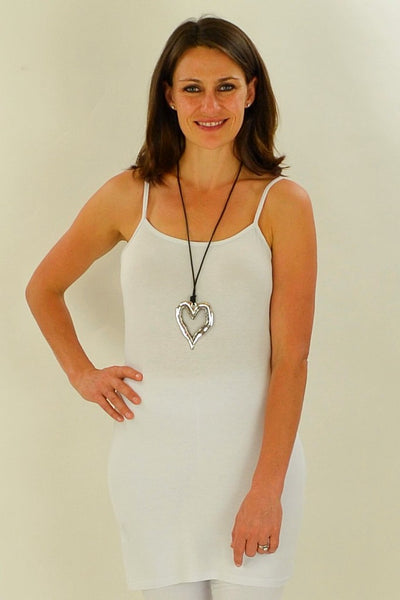 Long White Cotton Basic Singlet Top - at I Love Tunics @ www.ilovetunics.com = Number One! Tunics Destination