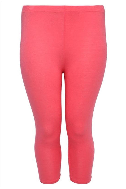 Coral Plus Size 3/4 Leggings - at I Love Tunics @ www.ilovetunics.com = Number One! Tunics Destination