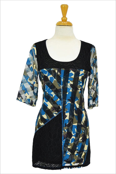 Blue Olive Leaf Pattern Tunic