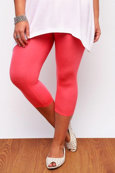 Coral Plus Size 3/4 Leggings