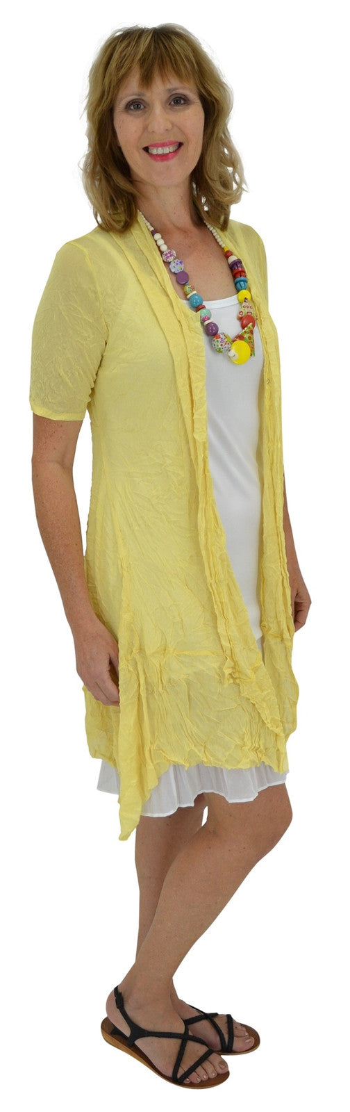 Yellow Long Mesh Cardigan - at I Love Tunics @ www.ilovetunics.com = Number One! Tunics Destination