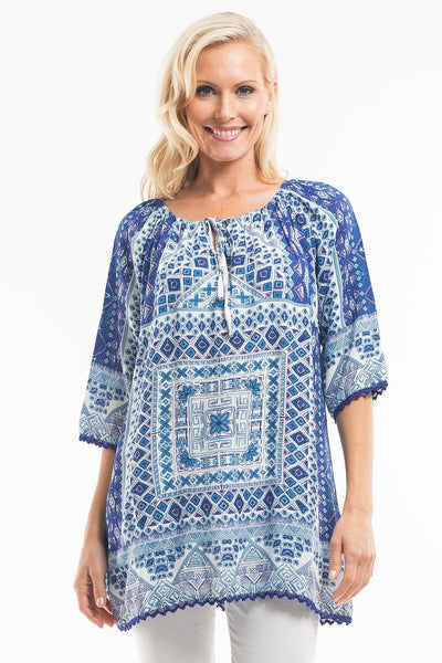 Blue White Moroccan Tunic - at I Love Tunics @ www.ilovetunics.com = Number One! Tunics Destination