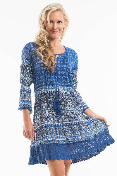 Blue Aztec Tunic - at I Love Tunics @ www.ilovetunics.com = Number One! Tunics Destination