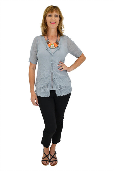 Grey Button Up Mesh Cardigan