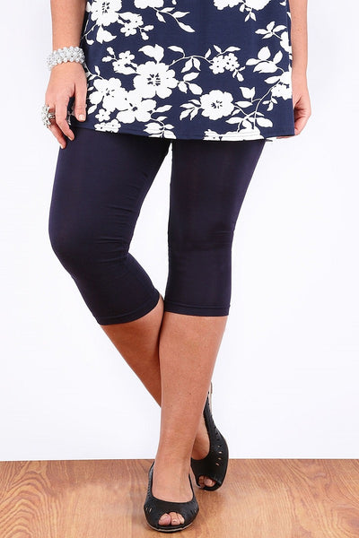 Navy 3/4 Plus Size Leggings