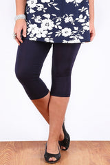 Navy 3/4 Plus Size Leggings - at I Love Tunics @ www.ilovetunics.com = Number One! Tunics Destination