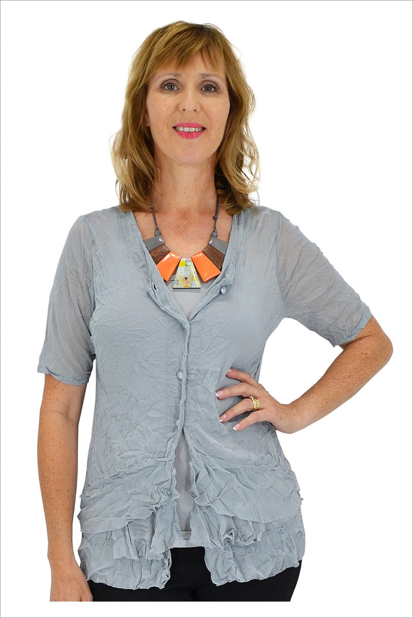 Grey Button Up Mesh Cardigan - at I Love Tunics @ www.ilovetunics.com = Number One! Tunics Destination