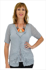 Grey Button Up Mesh Cardigan | I Love Tunics | Tunic Tops | Tunic | Tunic Dresses  | womens clothing online