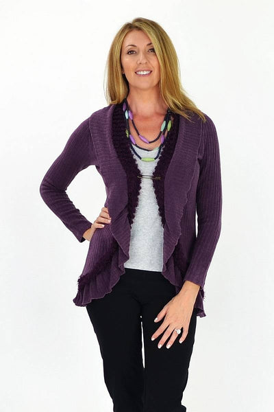 Purple Frilled Hem Cardigan | I Love Tunics | Tunic Tops | Tunic | Tunic Dresses  | womens clothing online