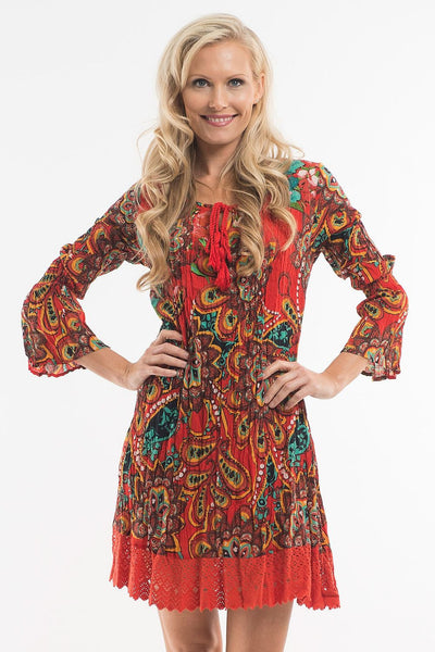 Orange Mandala Tunic - at I Love Tunics @ www.ilovetunics.com = Number One! Tunics Destination