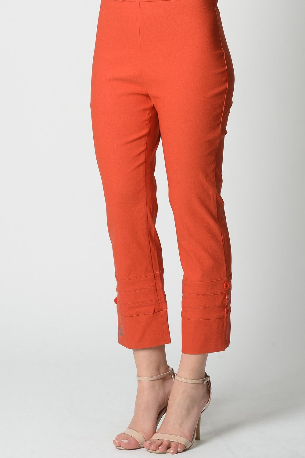 Orange 3 Button 7/8 Pant - at I Love Tunics @ www.ilovetunics.com = Number One! Tunics Destination
