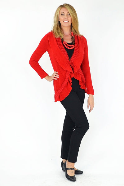 Red Frilled Hem Cardigan