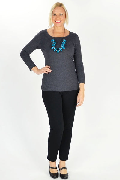 Charcoal Long Sleeve Basic Top