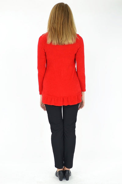 Red Frilled Hem Cardigan - at I Love Tunics @ www.ilovetunics.com = Number One! Tunics Destination