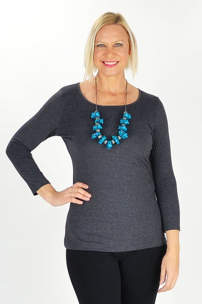 Charcoal Long Sleeve Basic Top | I Love Tunics | Tunic Tops | Tunic | Tunic Dresses  | womens clothing online