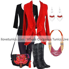 Red Frilled Hem Cardigan | I Love Tunics | Tunic Tops | Tunic | Tunic Dresses  | womens clothing online