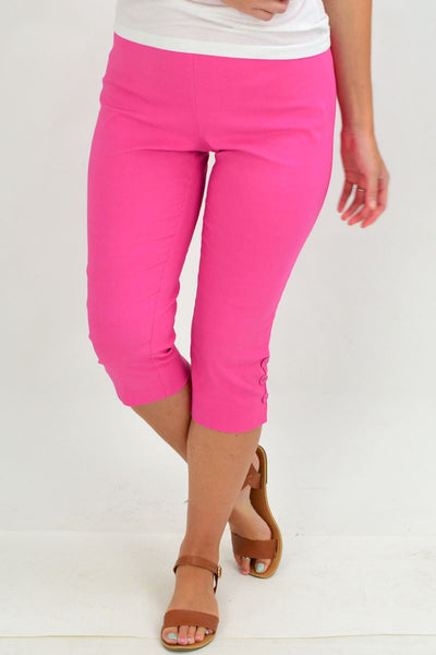 Pink 3 Button 3/4 Pull on Pants