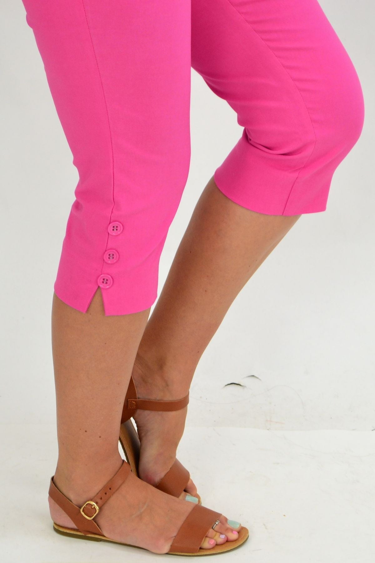 Pink 3 Button 3/4 Pull on Pants | I Love Tunics | Tunic Tops | Tunic | Tunic Dresses  | womens clothing online